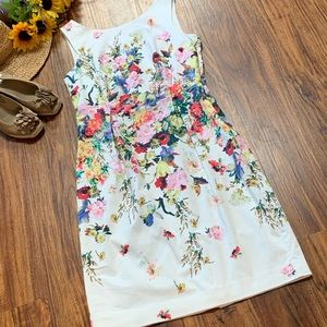 Talbots flower sheathed midi dress